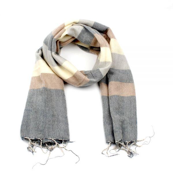 Melange-Schal gestreift grau creme beige - Fair Trade