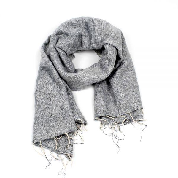 Melange-Schal hell grau - Fair Trade