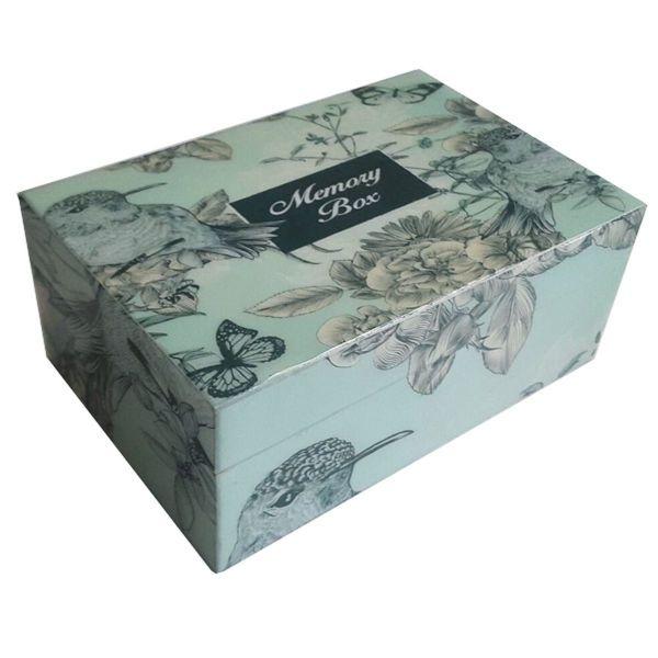 Erinnerung-Box Vogel/Schmetterling blau, grau und lila aus Holz lackiert - Fairtrade
