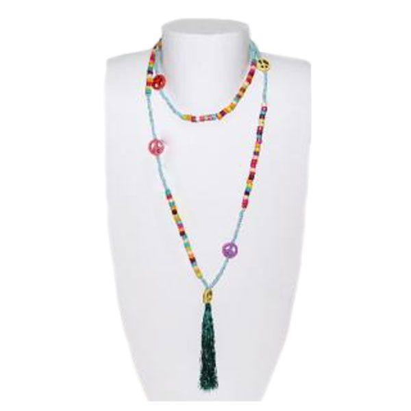 Halskette Regenbogen aus Holzperlen mit Quaste - Fair Trade
