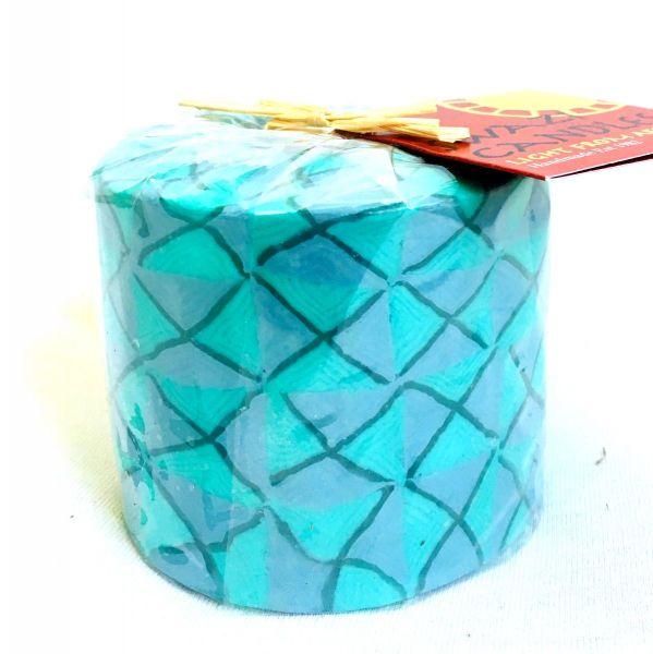 Stumpenkerze türkis Muster -Swasi Candle - Fairtrade
