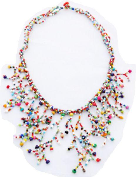 bunte Halskette aus Stein- und Glasperlen - Fair Trade