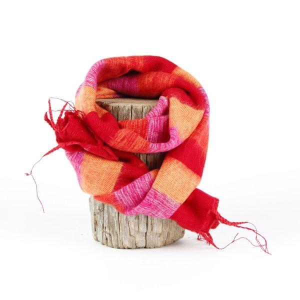 kleiner Melange-Schal gestreift fuchsia rot orange - Fair Trade
