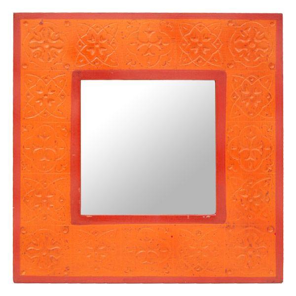 roter/oranger Spiegel aus Holz - Fair Trade