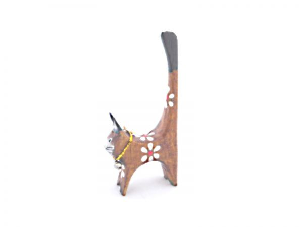 Ringhalter -braune mini Katze- aus Holz - Fair Trade