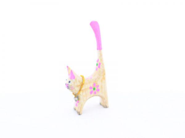 Ringhalter -pinke mini Katze- aus Holz - Fair Trade