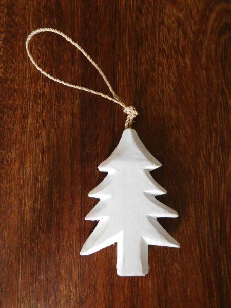 Baum-Hänger Vintage-Look aus Holz weiß - Fair Trade