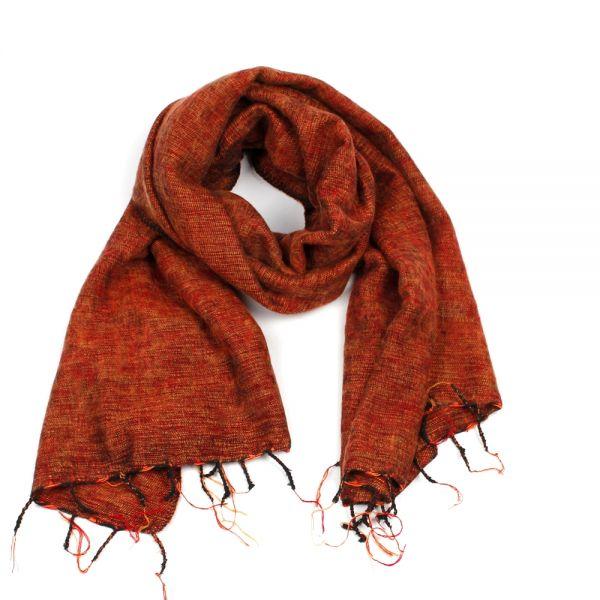 Melange-Schal orange-braun- Fair Trade