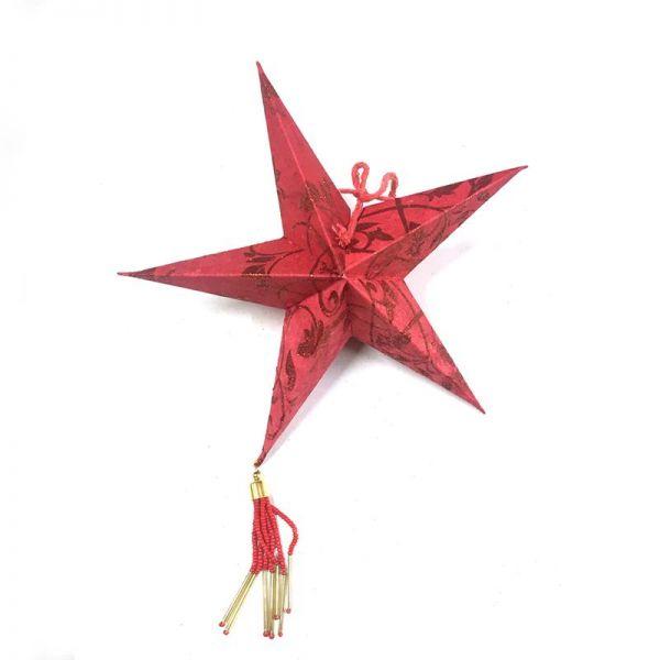 Weihnachtsstern Rot mit Glitzern aus Papier- Fairtrade