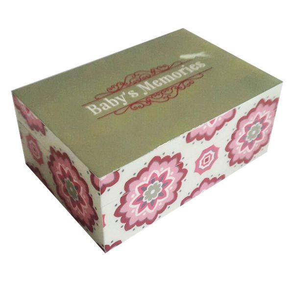 Erinnerungs-Box Aufbewahrungsbox für Baby Mädchen aus Holz lackiert - Fairtrade