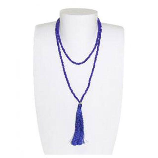blaue Halskette aus Glasperlen mit Quaste - Fair Trade