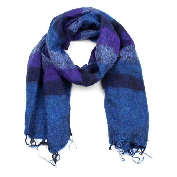 Melange-Schal gestreift dunkel blau lila - Fair Trade
