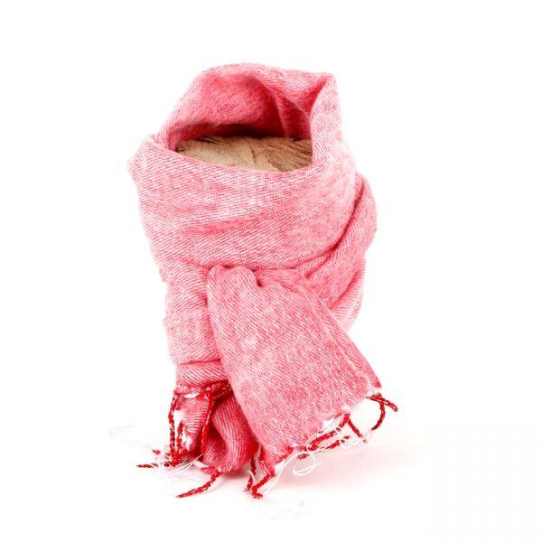 kleiner Melange-Schal rosa rot - Fair Trade