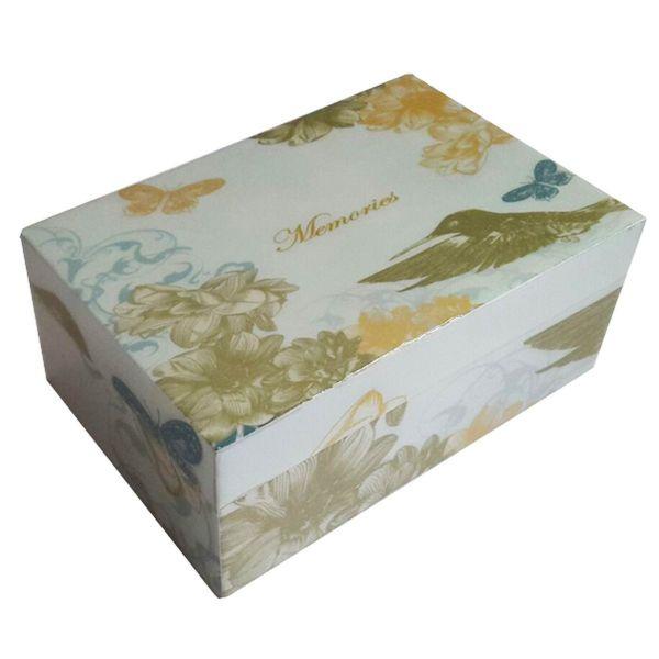 Erinnerung-Box Vogel/Schmetterling grün, gelb und blau aus Holz lackiert - Fairtrade