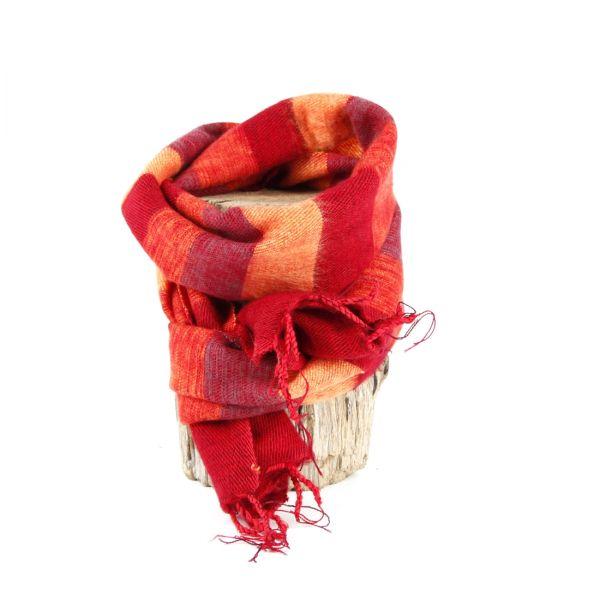 kleiner Melange-Schal gestreift dunkel rot orange - Fair Trade