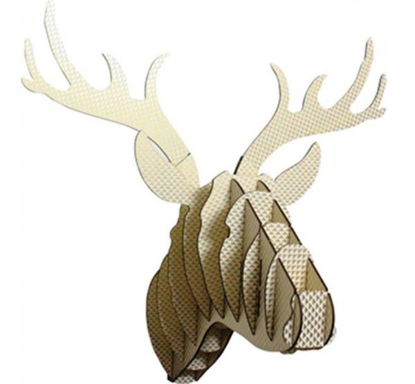 Wanddeko Rentie Tierkopf groß gold/weiß aus Papier - Fairtrade