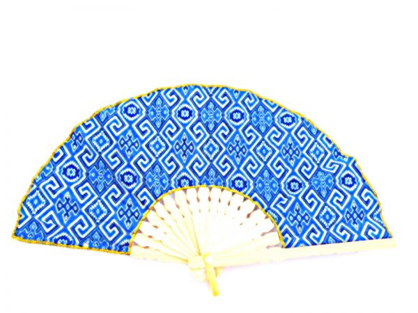 Fächer blau-Muster Stoff - Fair Trade