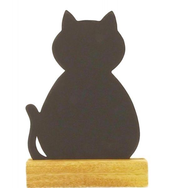 Katze-Kreidetafel 24 cm mit Holzfuß - Fairtrade
