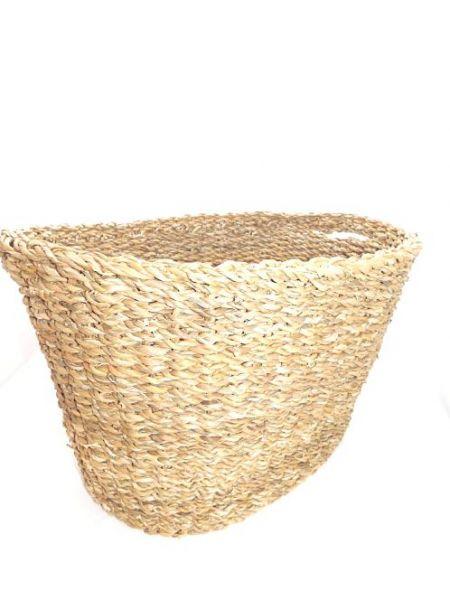 ovaler Korb mit Griffen aus Hogla (M) - Fairtrade