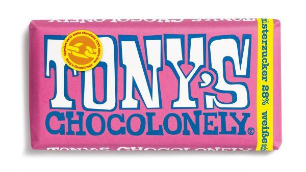 Tony´s Chocolonely - Weiße Schokolade mit Himbeere und Knisterzucker - 180 Gramm - fairtrade