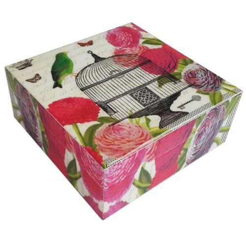 Schmuckkästchen Erinnerungsbox blumiger Vogelkäfig aus Holz lackiert - Fairtrade