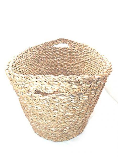 ovaler Korb mit Griffen aus Hogla (L) - Fairtrade