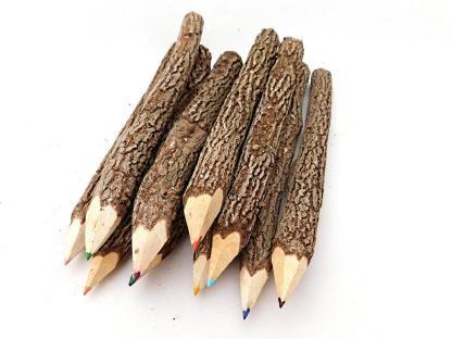 10 große Buntstifte aus Holz/Ästen - Fair Trade