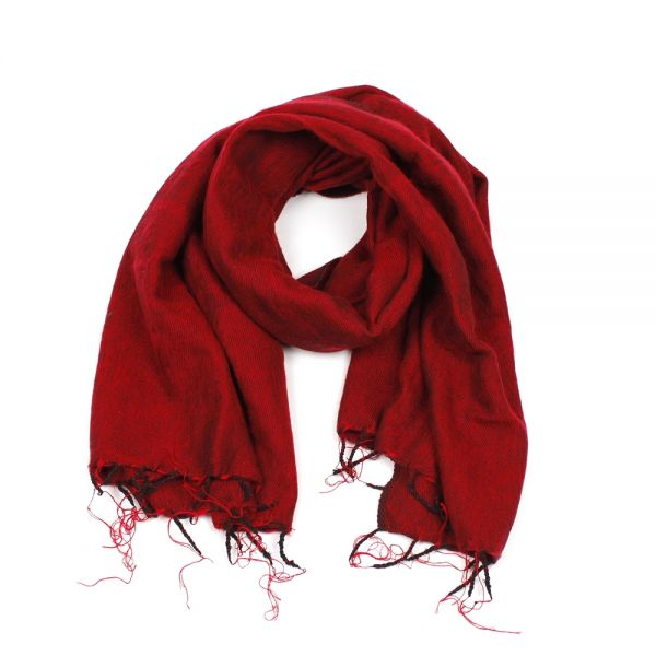 Melange-Schal dunkel rot - Fair Trade