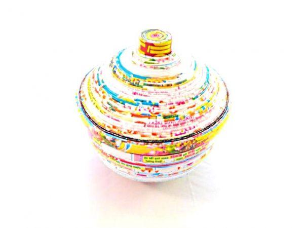 Aufbewahrungsbox mit Deckel Ø11,5 cm (klein) aus recyceltem Papier - Fair Trade