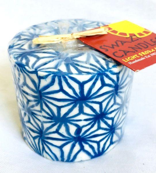 Stumpenkerze Marokkanisches blau -Swasi Candle - Fairtrade