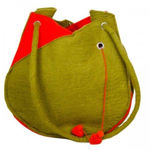 Tasche Tulpe aus Filz grün/orange - Fairtrade