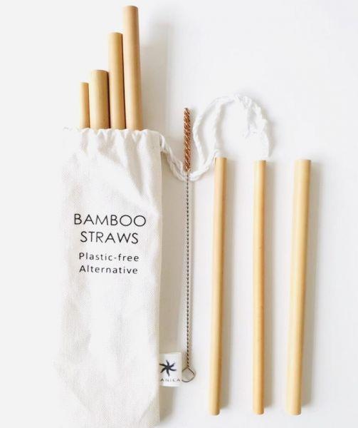 Bambus Strohhalme 7-Set mit Reinigungsbürste in einem Stoffbeutel