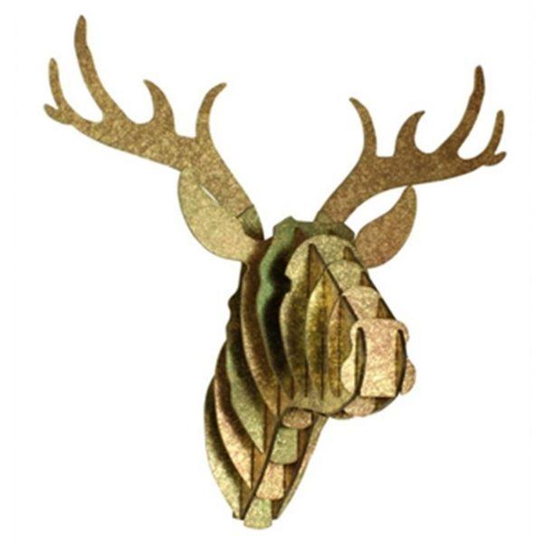 Wanddeko Rentier Tierkopf groß antik/gold aus Papier - Fairtrade