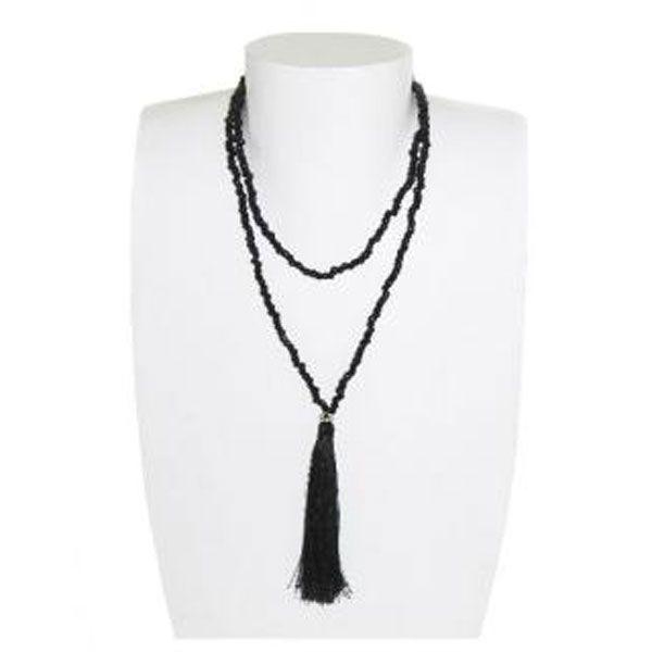 schwarze Halskette aus Glasperlen mit Quaste - Fair Trade