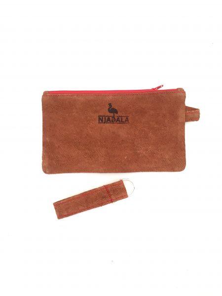 Federmäppchen Kosmetiktasche mit Schlüsselanhänger aus Baumrinde - rot- Fairtrade