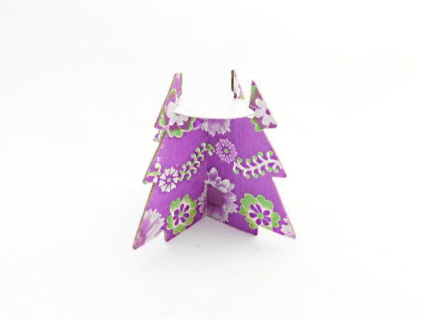 Baum-Teelichthalter lila - aus buntem Papier - Fair Trade