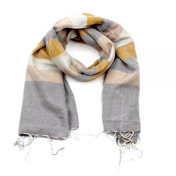 Melange-Schal gestreift ockergelb grau creme - Fair Trade
