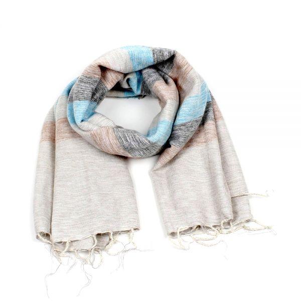 Melange-Schal gestreift ibiza blau creme hell - Fair Trade