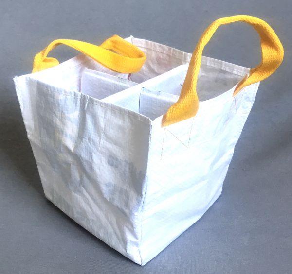 Flaschentasche für 4 Flaschen - gelb / weiß - Upcycling - Fairtrade