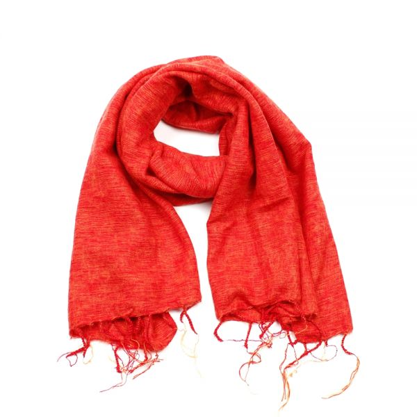 Melange-Schal warmes orange rot - Fair Trade
