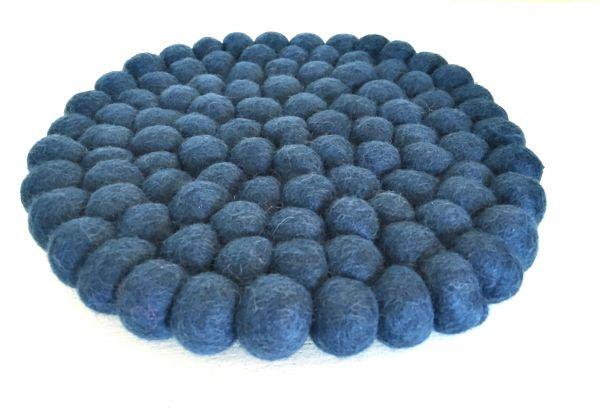 Topf-Untersetzer aus Filzkugeln- Petrol blau Ø 20 cm - Fairtrade