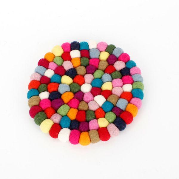 Topf-Untersetzer aus bunten Filzkugeln Ø 20 cm - Fairtrade