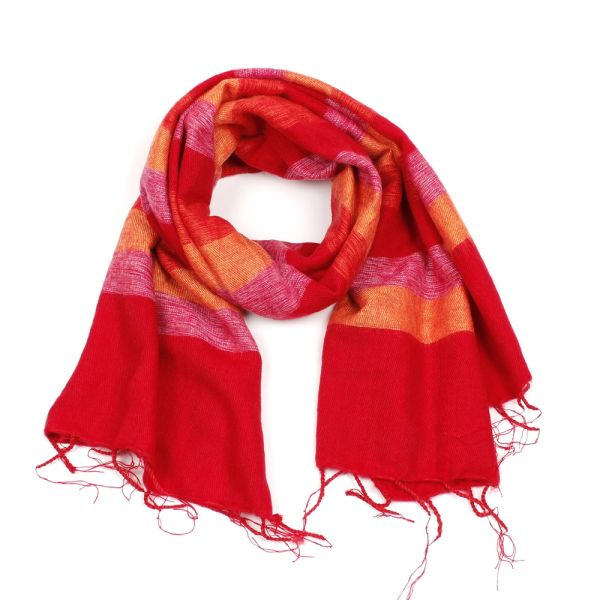 Melange-Schal gestreift fuchsia rot orange - Fair Trade
