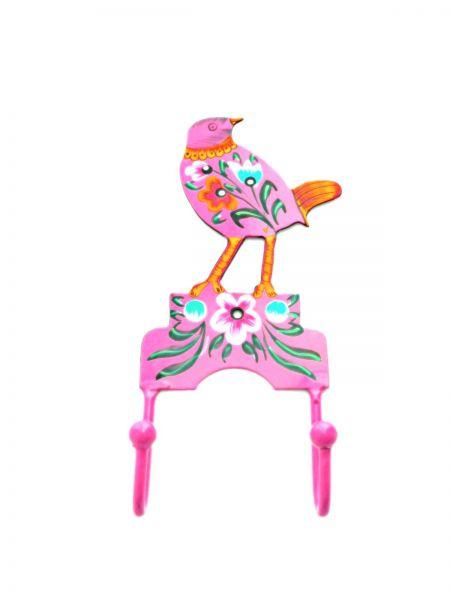 2 Kleiderhaken Vogel pink aus Metal- Fair Trade