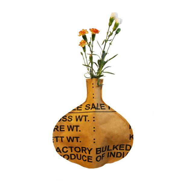 Flaschen-Vase-Hülle rund - Fairtrade Upcycling