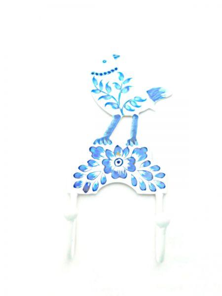 2 Kleiderhaken Vogel weiß/blau aus Metal- Fair Trade