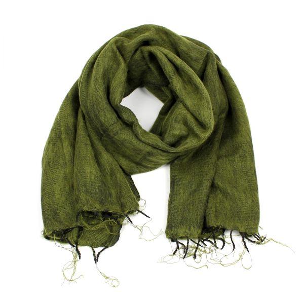 Melange-Schal moos-grün- Fair Trade