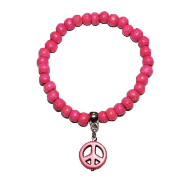 pinkes Armband aus Holzperlen mit PEACE-Zeichen -Fair Trade