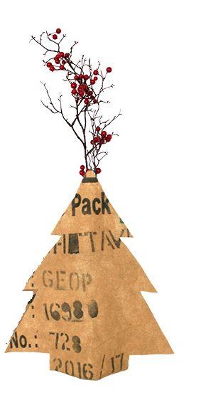 Flaschen-Vase- Hülle - Weihnachtsbaum- Fairtrade Upcycling