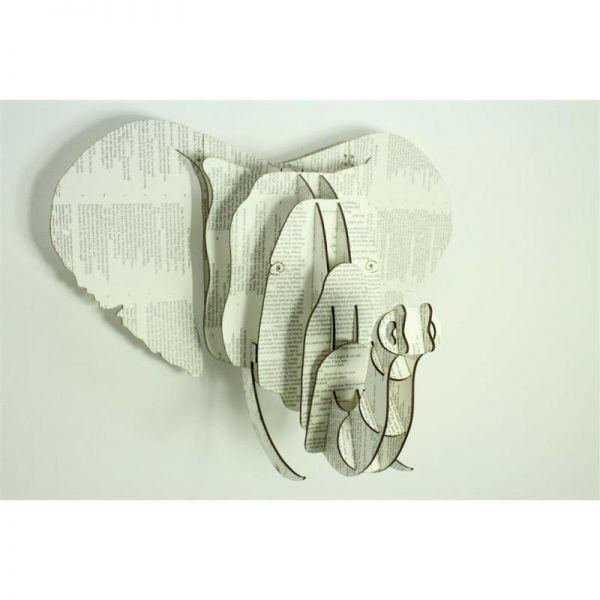 Wanddeko Elefant Tierkopf (12.5X12,5X6.25 cm) Zeitungspapier XS- Fairtrade